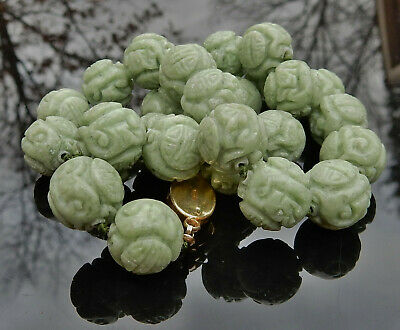 """Vintage Chinese Hand Carved Green Jade Shou Bead Necklace 17"""" Longevity Beads"""