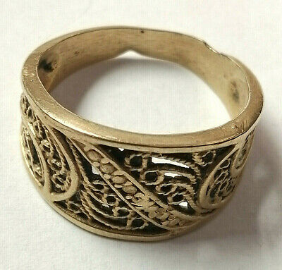 Rare Ancient medieval Roman Bronze Ring Museum Quality Artifact Lovely Decorated