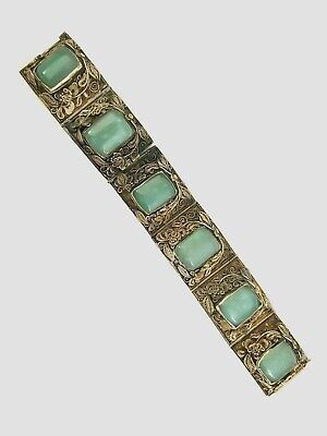 ANTIQUE CHINESE SILVER & JADE HAND MADE BRACELET 1880-1900th AS-IS CONDITION