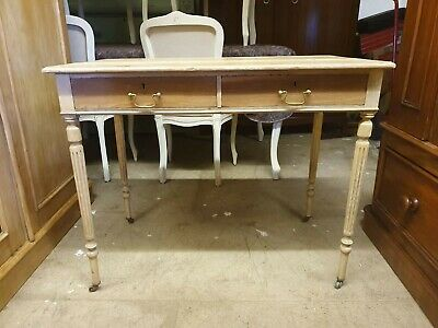 Edwardian Bleached Mahogany Two Drawer Hall Table