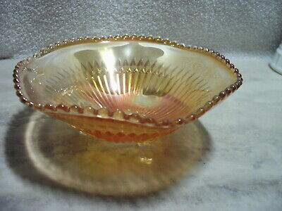 Vintage Iridescent Orange Carnival Glass 3 Footed Beaded Lip Candy Dish