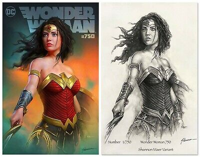 Wonder Woman #750 Shannon Maer Variant Ltd To 750 With Pencil Sketch Coa