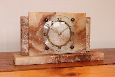 Small Antique/Vintage Art Deco Marble Mantle Clock Pink Toned Stone BEAUTIFUL
