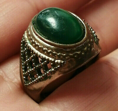Ancient ROMAN Ring Bronze artifact Amazing Piece With Stone