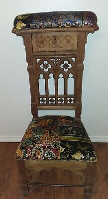 French Gothic Carved Prayer Chair Kneeler circa 19th Century, Oak Excellent!