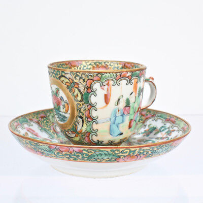 Antique Rose Medallion Chinese Porcelain Tea Cup and Saucer - PC