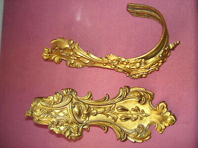 Antique Ornate Pair Brass w/Gilded Accents Baroque Curtain Tie Backs/Hooks