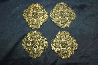 Antique Victorian Ornate Brass? Decorative Fittings Plaques Hardware Lot of 4
