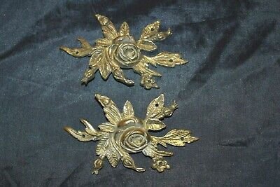 Antique Victorian Roses Ornate Brass? Decorative Fittings Plaques Hardware PAIR