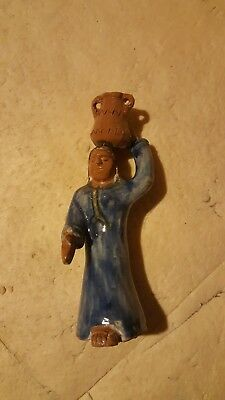Glazed Pottery Figurine Statue. A Village Woman in Egypt Carrying a Water  Pot.