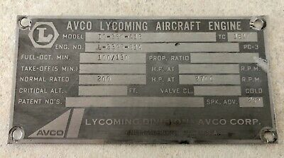 Data Plate Lycoming IO-360 Engine 200hp-51A