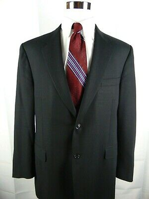 Canali Men's 2 Button Black Solid Wool Suit Jacket Sport Coat Blazer Italy 50R