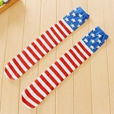 Girls Knee High Long Socks USA American Flag Stars Stripes Patriotic