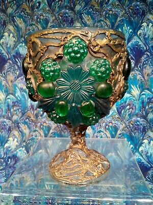 """Vtg  Caged Jeweled Glass Wine Goblet Gothic Mideval Lycurgus Cup Replica 6"""""""