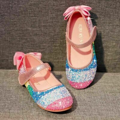 Pink Pearls Jewel Rhinestone Bow Party Casual Flat Shoes for Kids Girl 238-151