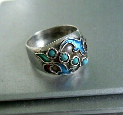 Faberge design  Antique Russian 84 silver RING WIT STONE ENAMEL