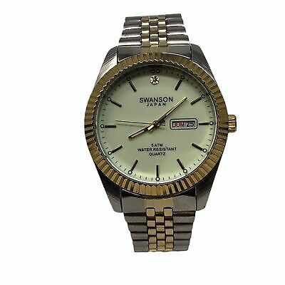NEW! 45 MM Men's Swanson Japan Watch  GLOW Dial -Two Tone Band One Stone