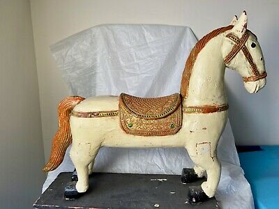 Antique Primitive Indian Asian Wood Carved Horse Chinese