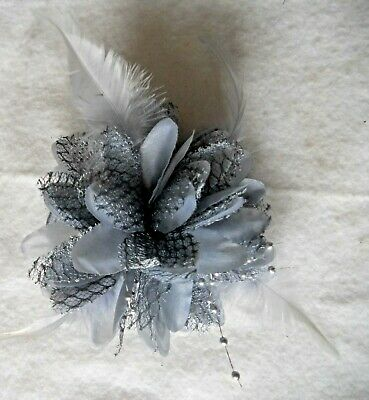 Grey Flower Feather Bead Fascinator Hair Clip Pin Band Wedding Proms Races Party