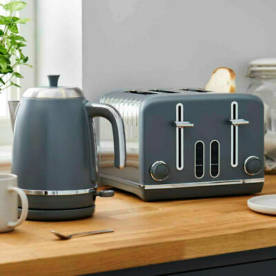 Grey and Steel Kettle And Toaster BREAKFAST SET 4 Slice Toaster