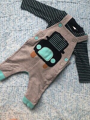 Baby Boy Outfit Set Next 3-6 Months Dungarees Grey Navy Blue Car