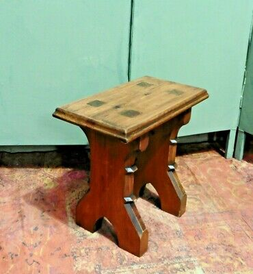 A Gorgeous Vintage Gothic Stool / Old Pitch Pine Heavy Stool