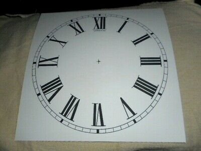 "Large Welch Paper (Card) Clock Dial - 11""  M/T - Roman -  WHITE MATT - Parts"
