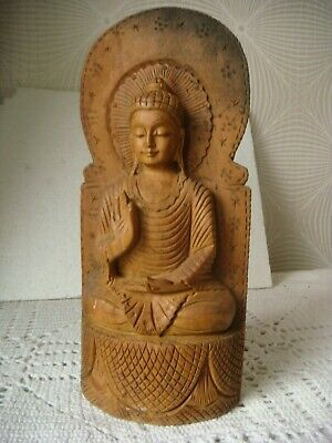 RRR RARE ANTIQUE Hand Carved Wooden Buddha sitting on a Lotus