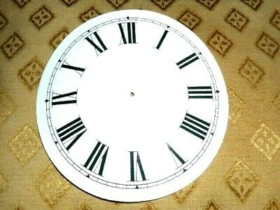 "Round Paper (Card) Clock Dial - 4 3/4"" M/T -Roman -WHITE GLOSS - Parts/Spares"
