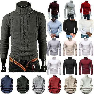 New Men's Chunky Cable Knit Pullover Jumper Thick Worm Winter Sweater Turtleneck