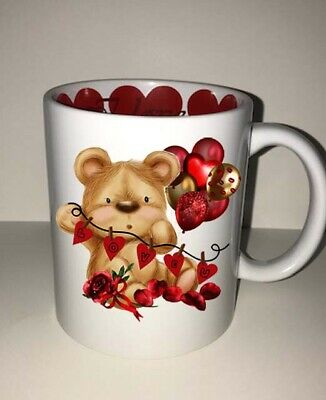 Love You Teddy Bear Mug With Hearts And Ballons Valentines Day