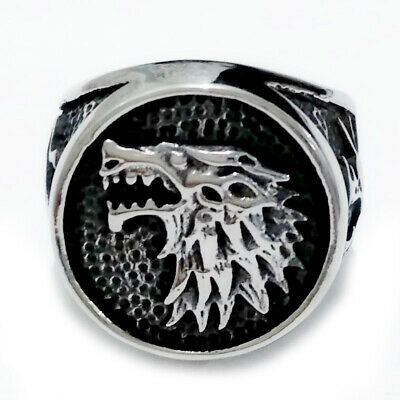 Game of Thrones Direwolf Ring Stainless Steel House Stark Wolf Pattern Ring Punk
