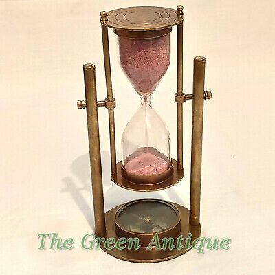 Antique Nautical Brass Revolving Sand Timer Base Compass Collectible Gift