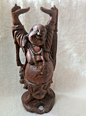 Buddha Statue standing happy laughing  Large Antique hand carved wood