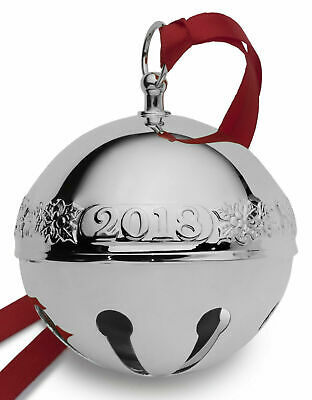 Wallace 2018 Silver-Plate Sleigh Bell-48th Edition (Holly & Ornaments) NEW