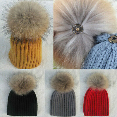 Baby Boy Girl Kids Winter Ball Knit Raccoon Fur Pom Bobble Beanie Hat Ski Cap