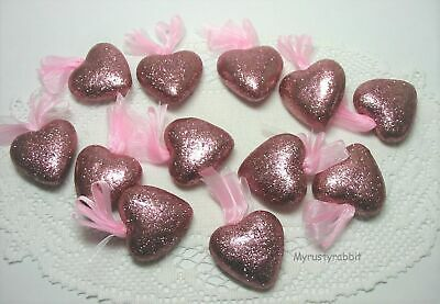"""2"""" Pink Glitter Heart Ornaments ~ Set of 12 ~ Valentine's Day - NEW"""