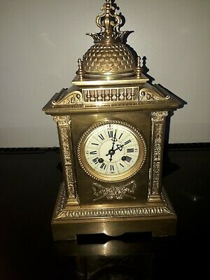 Japy Freres  French Brass Chiming Mantle Clock