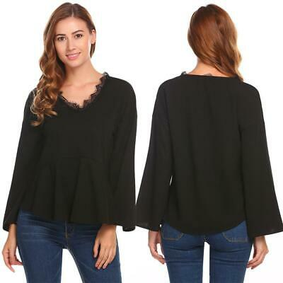 Women Casual V-Neck Long Flare Sleeve A-Line Pleated Lace Patchwork GDY7