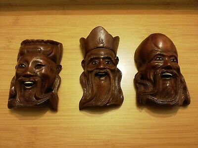 3  Vintage/Antique Carving Chinese Asian Wooden  Mask