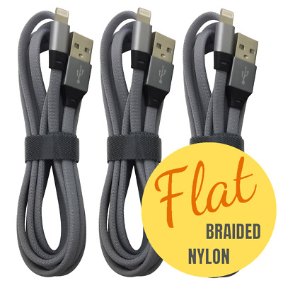 3 PACK 6FT Lightning Cable Heavy Duty for iPhone USB Fast Charger Charging Cord