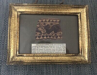 Ancient Coptic Egyptian Textile Fragment Specimen 4th To 7th Century AD Framed