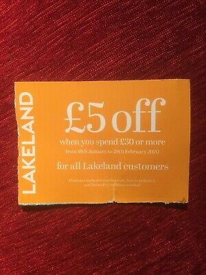 Lakeland £5 Off £30 Spend Voucher Expires 29th February 2020