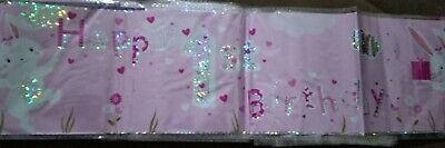 pair of girl 1st birthday banner pink 2.6 meter long each. holographic foil.