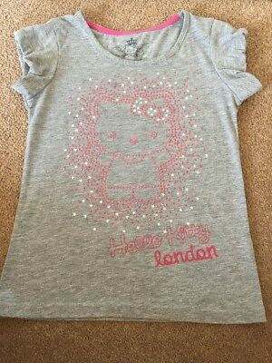 Lovely Girls Grey With Pink Sequins HELLO KITTY T-Shirt -Marks & Spencers-Age 7Y