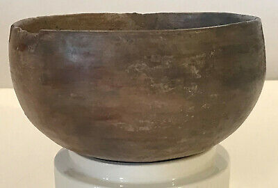 """Pre-Colombian Pottery Bowl Native American Mottled Brown and Green Glazed 5"""" Dia"""