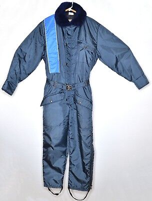 Vintage Walls BLIZZARD PRUF Blue Insulated Snowsuit Coveralls Size M Chest 38 40