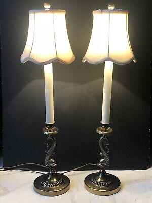 RARE Vintage DOLPHIN Fish Koi Brass ALSY GOLD Antique Lamps *Candlestick PAIR
