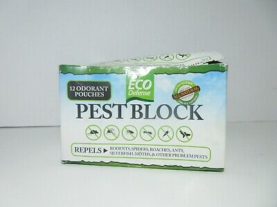 Eco Defense Pest Block, 12 Odorant Pouches, Repels Rodents, Spiders, Roaches....