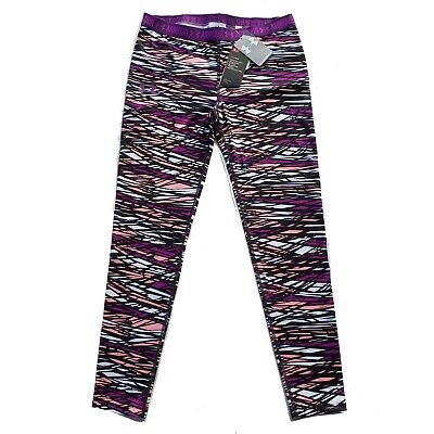 New Girls Under Armour Leggings Size YXL Purple Fitted Heat Gear UPF 30